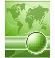 Green background with globe and world map vector