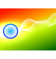 Indian flag wheel with wave in tricolor background vector