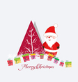 Merry christmas card with santa claus and gift vector