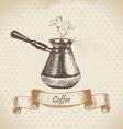 Coffee pot hand drawn vector