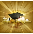 Graduation cap and diploma old style background vector