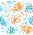 Hand drawn pattern of starfishes and shells vector