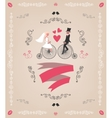 Vintage retro wedding invitation hand drawn design vector