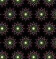 Abstract pink neon flower pattern on black vector