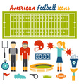 Flat design icons of american football vector