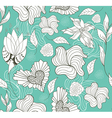 Seamless doodle flowers and hearts pattern vector