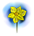 Yellow flower on the blue background vector