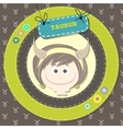 Zodiac signs collection cute horoscope - taurus vector