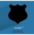 Shield flat modern web button with long shadow and vector