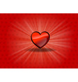 Red heart on the shining background vector