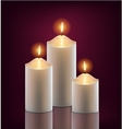 3 white burning candles in the dark vector