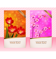Two cards with flower for invitations vector