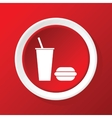 Fastfood icon on red vector