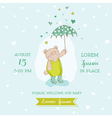 Baby shower card - bear with umbrella vector