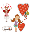 Set of three girls in love isolated on white vector