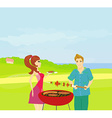 Barbecue party - cook and girl vector