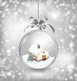 Glass ball christmas with a little house snow fir vector