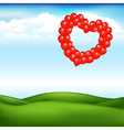 Landscape with balls in form of heart vector