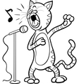 Singing cat cartoon coloring page vector