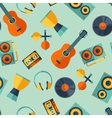 Seamless pattern with musical instruments in flat vector