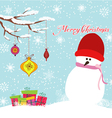 Merry christmas card with snowman and gift vector