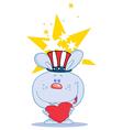 Blue usa bunny holding a red heart vector