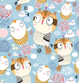 Texture owls in the clouds vector