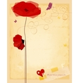 Vintage love flowers card old paper texture vector