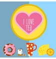Icon set with tea in flat style vector
