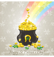 Card for st patricks day and golden pot vector