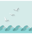 Marine background with waves and birds vector