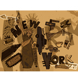 New york doodles with grunge background vector