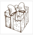 Present box with hearts and bow vector