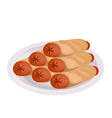Pile of sausage pancake on a plate vector