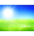 Blurry green field and blue sky with summer sun vector