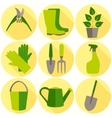 Flat design set of gardening tool icons isolated vector