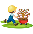 A boy carrying tree vector