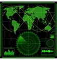 Radar screen with world map vector