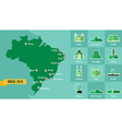 Landmark brazil map silhouette icon vector