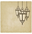 Ramadan lantern old background vector