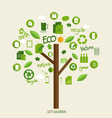 Ecology concept tree with icons vector