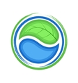 Eco logo green leaf and blue drop water ecology vector