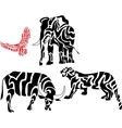 Set of african animal silhouettes vector