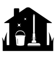 Cleaning black isolated icon vector