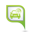 Car with air conditioner icon on green pointer vector