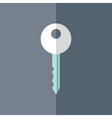 Flat white mint key icon over blue vector