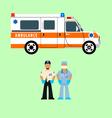 Ambulance and medical team vector