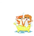 Cute cartoon cat and dog bathing time vector