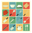 Flat icons kitchen vector