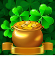 Patrick card with clover and gold pot vector